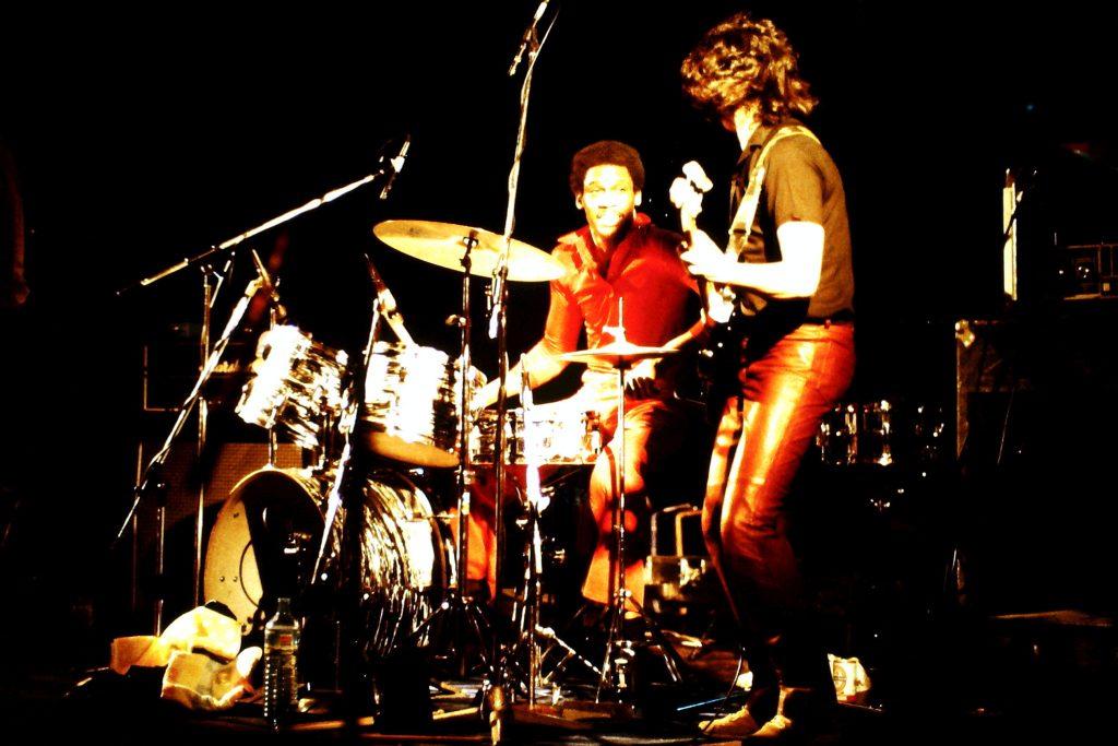 Bassist und Schlagzeuger von Mytch Ryder. 06.03.1982 Stadhalle Osnabrück